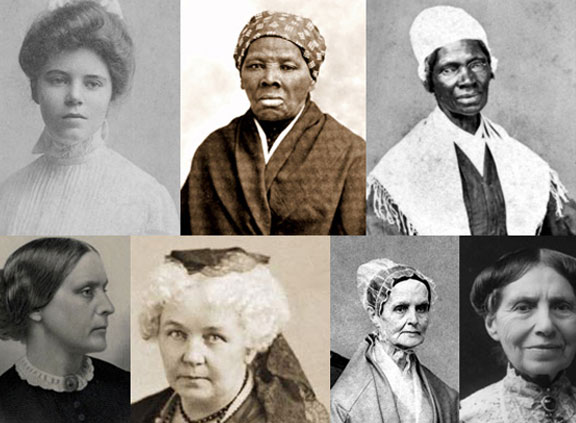 A black and white photo of several important women from history.